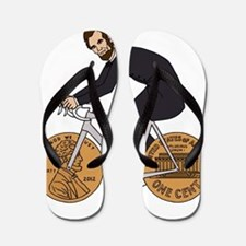Abraham Lincoln On A Bike With Penny Wh Flip Flops