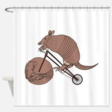 Armadillo Riding Bike With Armadill Shower Curtain