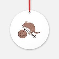 Armadillo Riding Bike With Armadill Round Ornament