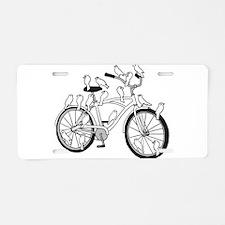 Birds On Bike (white) Aluminum License Plate