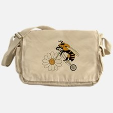 Bee Riding Bike With Flower Wheel Messenger Bag
