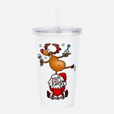 Reindeer is having a d Acrylic Double-wall Tumbler