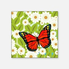 "Red butterfly Square Sticker 3"" x 3"""