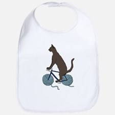 Cat Riding Bike With Yarn Ball Wheels Bib