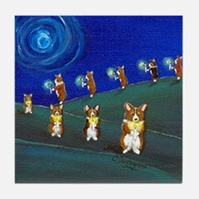 Light A Candle Corgi Art Tile Coaster