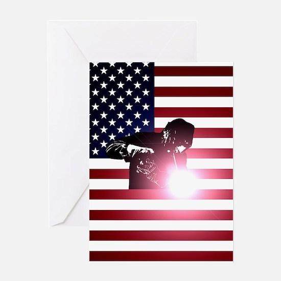 Welding: Welder & American Flag Greeting Cards