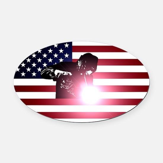 Welding: Welder & American Flag Oval Car Magnet