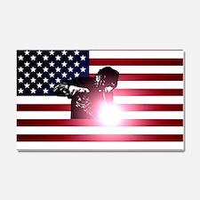 Welding: Welder & American Flag Car Magnet 20 x 12