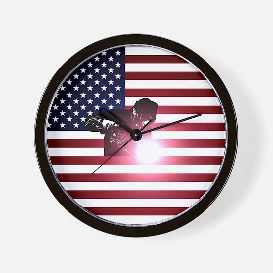 Welding: Welder & American Flag Wall Clock