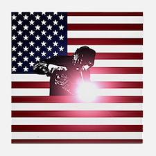 Welding: Welder & American Flag Tile Coaster
