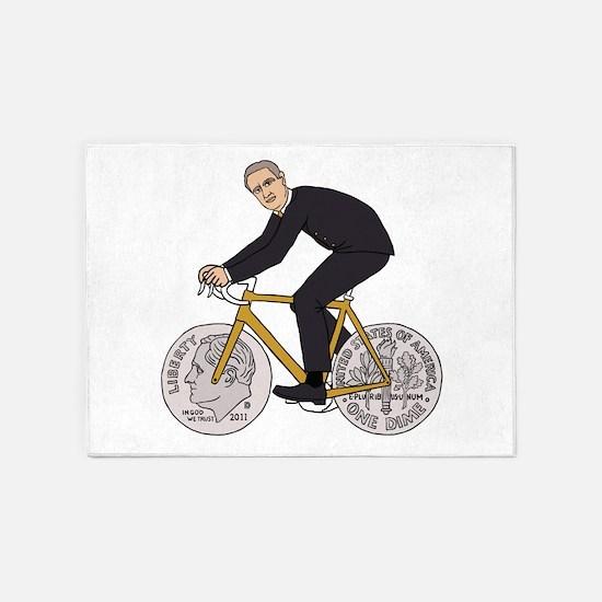 Franklin D Roosevelt Riding Bike Wi 5'x7'Area Rug