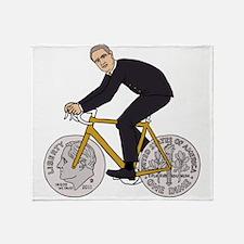 Franklin D Roosevelt Riding Bike Wit Throw Blanket