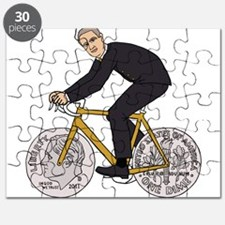 Franklin D Roosevelt Riding Bike With Dime Puzzle