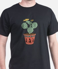 Pear Cactus Bike In Pot With Kokopelli On T-Shirt