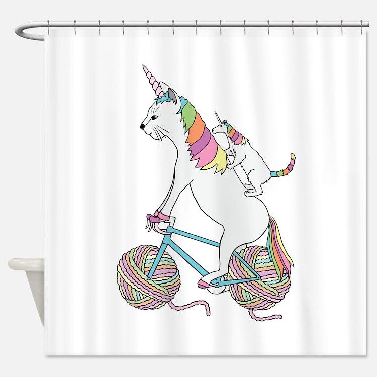 Cat Unicorn Riding Unicorn Cat Who' Shower Curtain