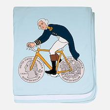 George Washington On Bike With Quarte baby blanket