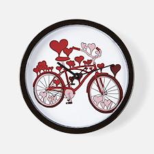 Bike Hearts Wall Clock
