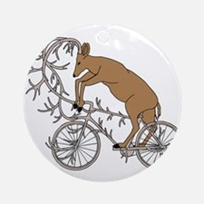 Deer Riding His Antler Bike Round Ornament