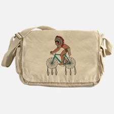 Native American On Bike W/ Dream Cat Messenger Bag