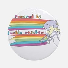Powered By Double Rainbow Round Ornament