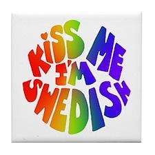 Kiss Me - Swedish - Tile Coaster