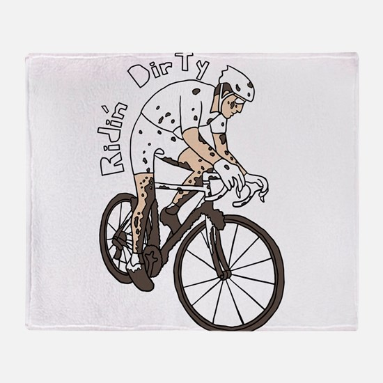 Cyclocross Rider Riding Dirty Throw Blanket