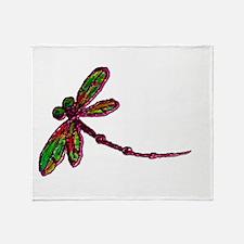 Kaleidoscopic Dragonfly Throw Blanket