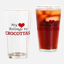 My Heart Belongs to Crocottas Drinking Glass