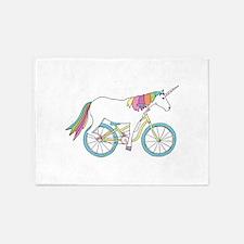 Unicorn Riding Bike 5'x7'Area Rug