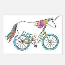 Unicorn Riding Bike Postcards (Package of 8)