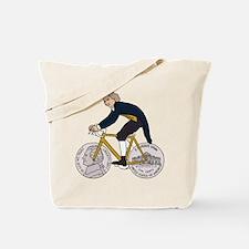 Thomas Jefferson Riding Bike W/ Nickel Wh Tote Bag