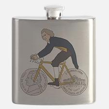 Thomas Jefferson Riding Bike W/ Nickel Wheel Flask