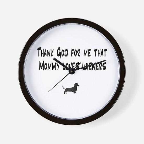 TG Mommy Loves Wieners Dachshund Wall Clock
