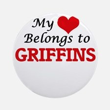 My Heart Belongs to Griffins Round Ornament