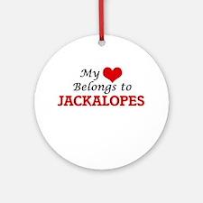 My Heart Belongs to Jackalopes Round Ornament