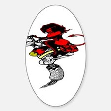 Devil Girl Riding Tattoo Mach Oval Decal