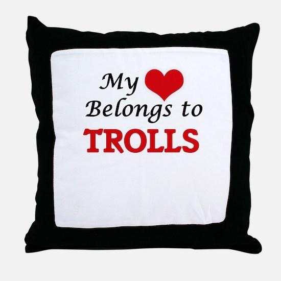 My Heart Belongs to Trolls Throw Pillow