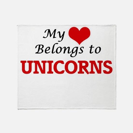 My Heart Belongs to Unicorns Throw Blanket