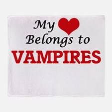 My Heart Belongs to Vampires Throw Blanket
