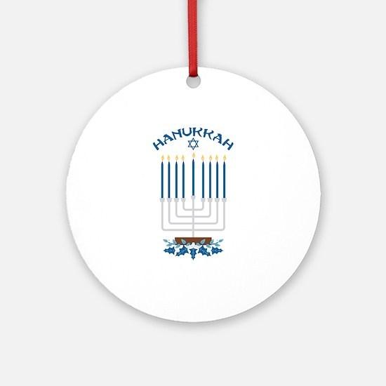 Hanukkah Candles Round Ornament