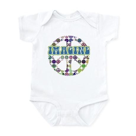 Retro Peace Sign Imagine Infant Bodysuit