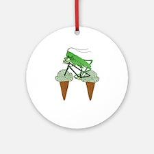 Grasshopper Riding Bike W/ Grasshop Round Ornament