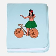 Hula Dancer Riding Bike With Coconut baby blanket