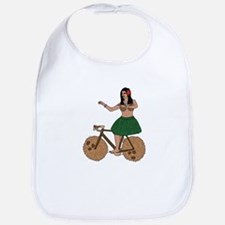 Hula Dancer Riding Bike With Coconut Wheels Bib