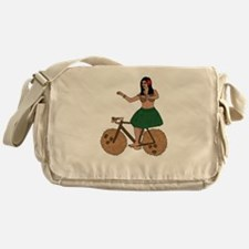 Hula Dancer Riding Bike With Coconut Messenger Bag
