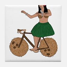Hula Dancer Riding Bike With Coconut Tile Coaster