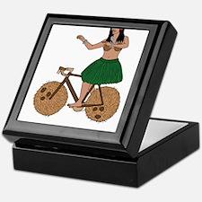 Hula Dancer Riding Bike With Coconut Keepsake Box
