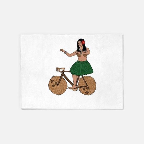 Hula Dancer Riding Bike With Coconu 5'x7'Area Rug