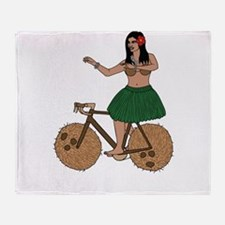 Hula Dancer Riding Bike With Coconut Throw Blanket