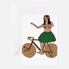 Hula Dancer Riding Bike With Coconu Greeting Cards